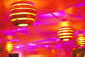 Ceiling colorful with funny lamps indoor shot Stock Photos