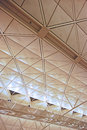 Ceiling of hong kong international airport white with structures Stock Photos