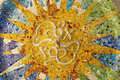Ceiling with mosaic sun of Park Guell Royalty Free Stock Photo