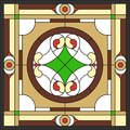 Ceiling panels stained glass window, in square frame Royalty Free Stock Photo