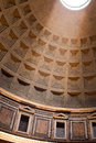 Ceiling of pantheon in rome interior italy famous with ray light from the top Stock Image