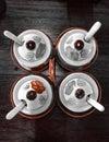 Celadon set seasoning ceramic Stock Photos