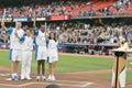 Celebração olímpica do relé da tocha de Atenas 2004 - estádio dos Dodgers Foto de Stock