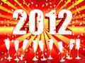 Celebração 2012 do champanhe do sunburst Imagens de Stock Royalty Free