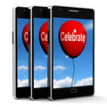 Celebrate balloon means events parties and celebrations meaning Stock Photos
