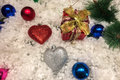 Celebrate Christmas and New Year Background Concept, Shining Ornament Snowball in Heart Like and Round Shape with Gift Box Royalty Free Stock Photo