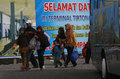 Celebrate eid the travelers to arrive at the bus terminal in the city of solo central java indonesia to Stock Images