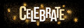 Celebrate golden glitter background banner. Royalty Free Stock Photo