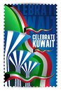 Celebrate Kuwait - Symbolic Water Towers and Flags Stamp