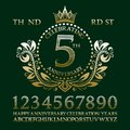 Celebrating anniversary sign kit. Golden numbers, alphabet, frame and some words for creating celebration emblems Royalty Free Stock Photo