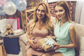 Celebrating baby shower Royalty Free Stock Photo