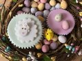 Easter Themed Iced Sponge Cupcakes In An Easter Wreath
