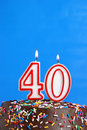 Celebrating forty years a number candle is lit in celebration of Stock Photo