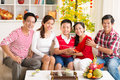 Celebrating at home portrait of a big asian family the chinese new year together Stock Image