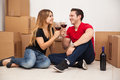Celebrating their new home cute young couple toasting with wine while moving into Royalty Free Stock Photography
