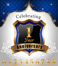 Celebrating 1 years anniversary, Golden sheild with blue royal emblem background Royalty Free Stock Photo