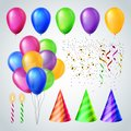 Celebration Accessorises Set Vector. Candles, Balloons, Party Hats. Birthday Or Holiday Event Elements Decoration