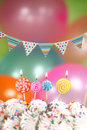 Celebration with balloons candles and cake happy birthday Royalty Free Stock Photos