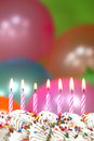 Celebration with balloons candles and cake happy birthday Royalty Free Stock Image