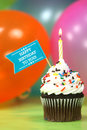 Celebration with balloons candles and cake happy birthday Stock Photography