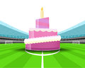 Celebration cake in the midfield of football stadium vector Royalty Free Stock Photo