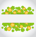 Celebration card with clovers and golden coins Royalty Free Stock Image