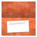 Celebration card with damask pattern and label Royalty Free Stock Image