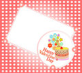 Celebration card. Valentine`s cake and flowers Stock Photos