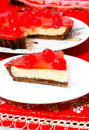 Celebration Cherry cheesecake dessert Stock Photos