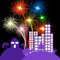 Celebration city shows night sky and buildings fireworks indicating firecracker Stock Photos