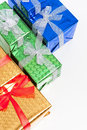 Celebration Concepts. Many Colorful Wrapped Up Gift Boxes Standing In Line Together.