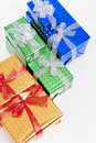 Celebration Concepts. Many Colorful Wrapped Up Gift Boxes Standing In Line Together