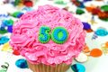 Celebration Cupcake - Number 50 Royalty Free Stock Images