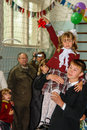 The celebration of the day of knowledge in one of the rural schools of the Kaluga region of Russia. Royalty Free Stock Photo