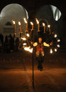 Celebration of fire rieti italy december during the religious feast and commemoration st barbara Stock Photography