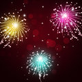Celebration fireworks show bright multicolor pyrotechnics night background Stock Images