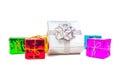 Celebration gift boxes isolated on white background Royalty Free Stock Photo