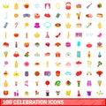 100 celebration icons set, cartoon style
