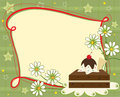 Celebration note a festive banner with a brownie and daisies eps Stock Photos