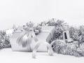 Celebration silver gift boxes on white background Royalty Free Stock Photo