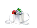 Celebration silver gift boxes on white background Royalty Free Stock Photo