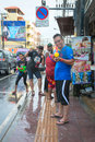 Celebration of songkran festival the thai new year on phuket thailand april tourist and residents celebrate by splashing water to Stock Images