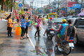 Celebration of songkran festival the thai new year on phuket thailand april tourist and residents celebrate by splashing water to Stock Image
