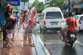 Celebration of songkran festival the thai new year on phuket thailand april tourist and residents celebrate by splashing water to Stock Photos