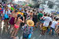 Celebration of songkran festival the thai new year on phuket thailand april tourists and residents celebrate by splashing water to Stock Images
