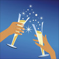 Celebration Toast  male female hands  Stock Photos