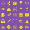 Celebration yellow icons on violet background stock vector Stock Photography