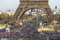 Celebrations at the Eiffel Tower in Paris Royalty Free Stock Photo