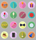 Celebrations set flat icons vector illustration Royalty Free Stock Photo
