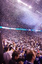 Celebrations of vancouver canucks winning game against san jose sharks in second overtime period and advancing to stanley cup Stock Photo
